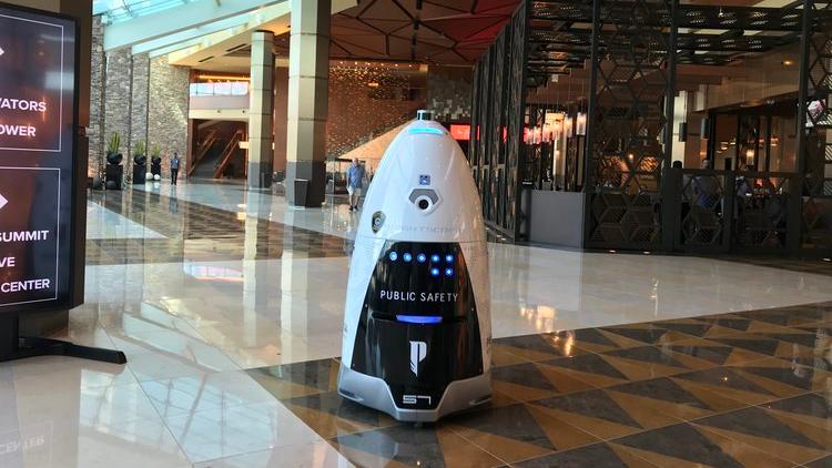 A K5 model robot on patrol in a non-Metro Houston setting.