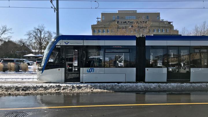 An ION light-rail train operating through the snow.